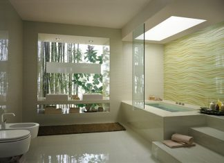 Cream wave bathroom tile bathtub