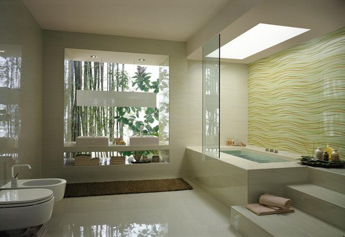 Cream wave bathroom tile bathtub