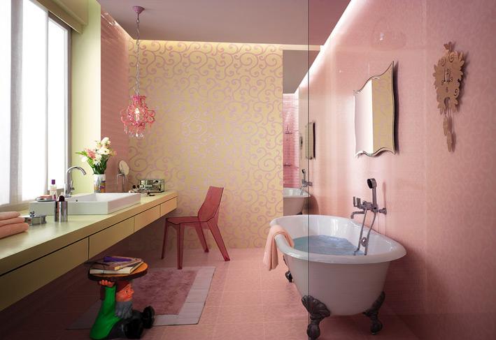 Cream white tile bathroom