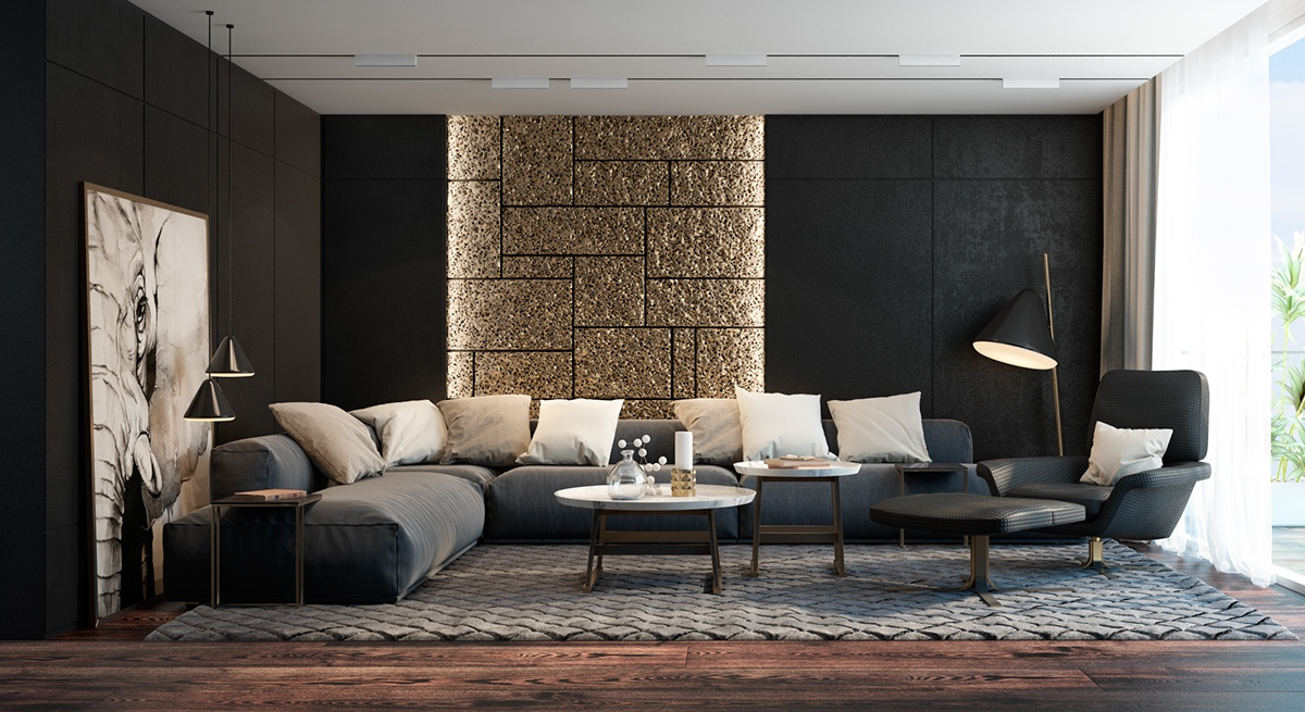 exotic black living room decor