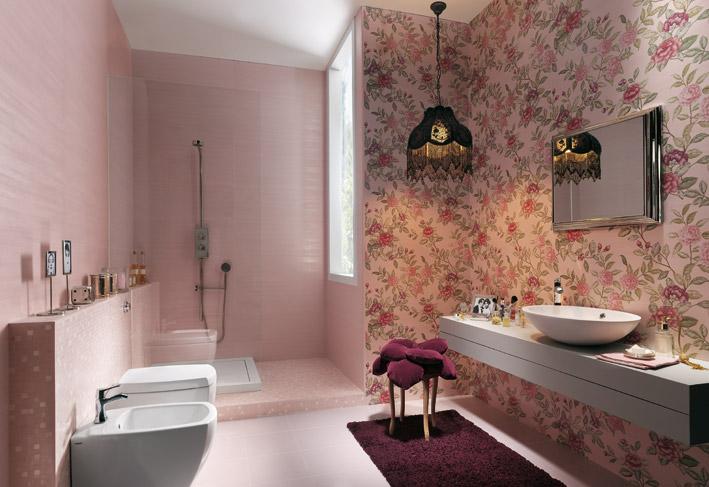 pink wall texture bathroom design