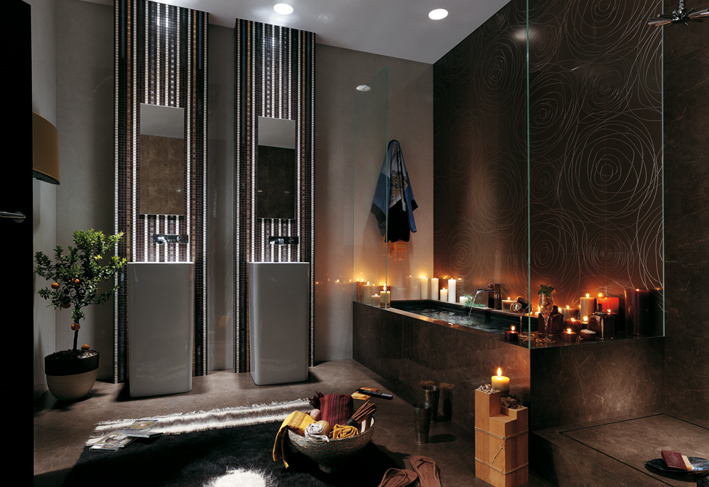 black wall texture bathroom