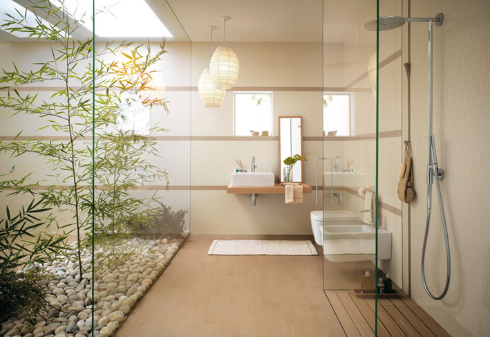 white bathroom with natural decor