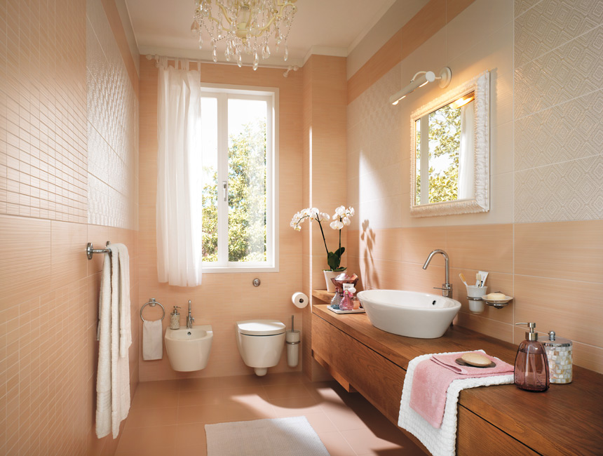 beige color bathroom wall decoration
