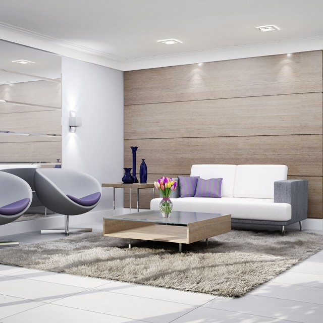 contemporary wooden living room