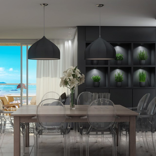 modern gray dining room