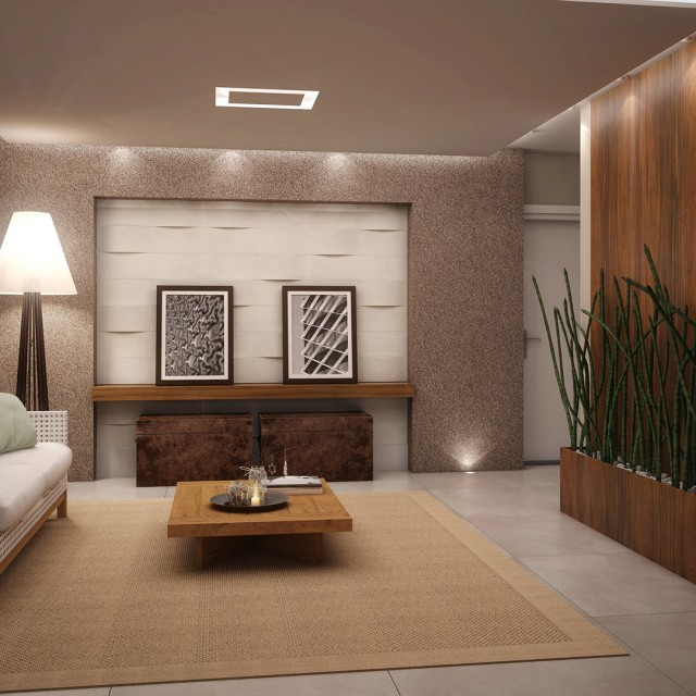 Modern contemporary living room design with wall texture Wall texture designs for living room