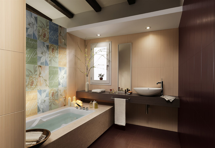 Floral bathroom tiles floating