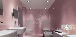 Floral metallic bathroom mosaic tiles