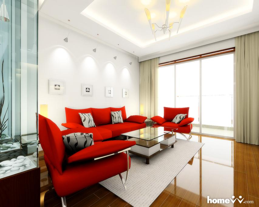 awesome red and white living room