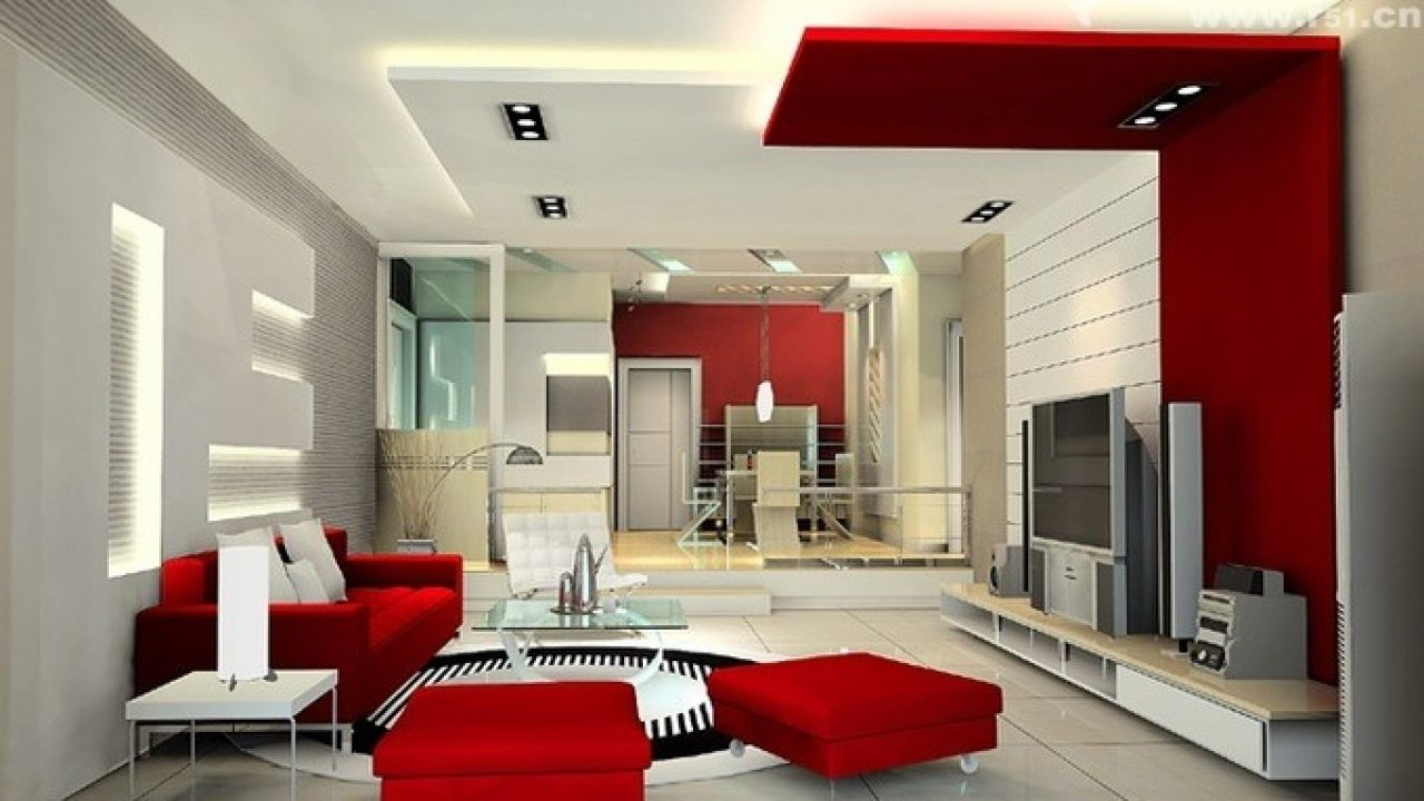 Living Room Decorating Ideas With Red And White Color Shade Looks