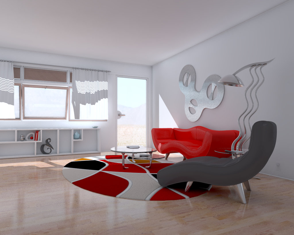 modern red and white living room