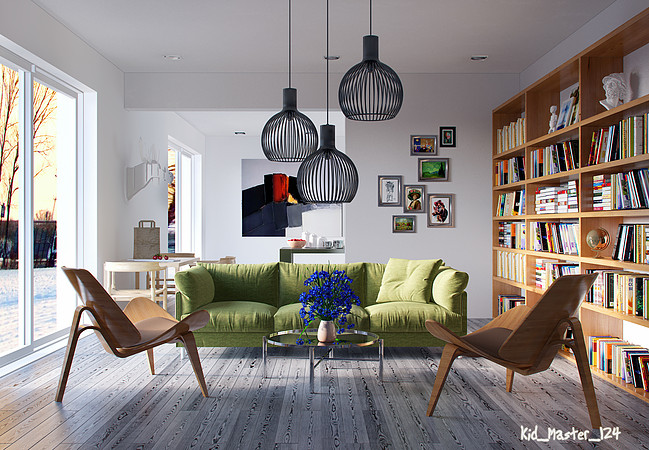 green accent for living room