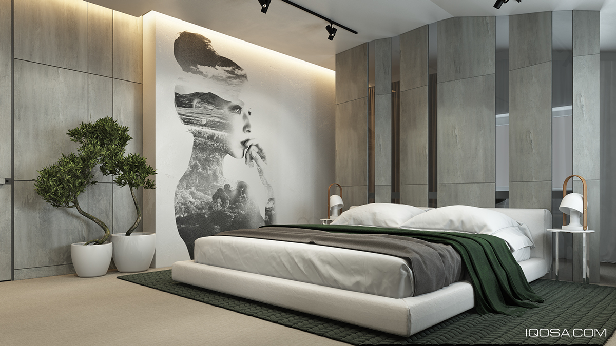 bedroom design with wall texture