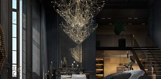 black living room design