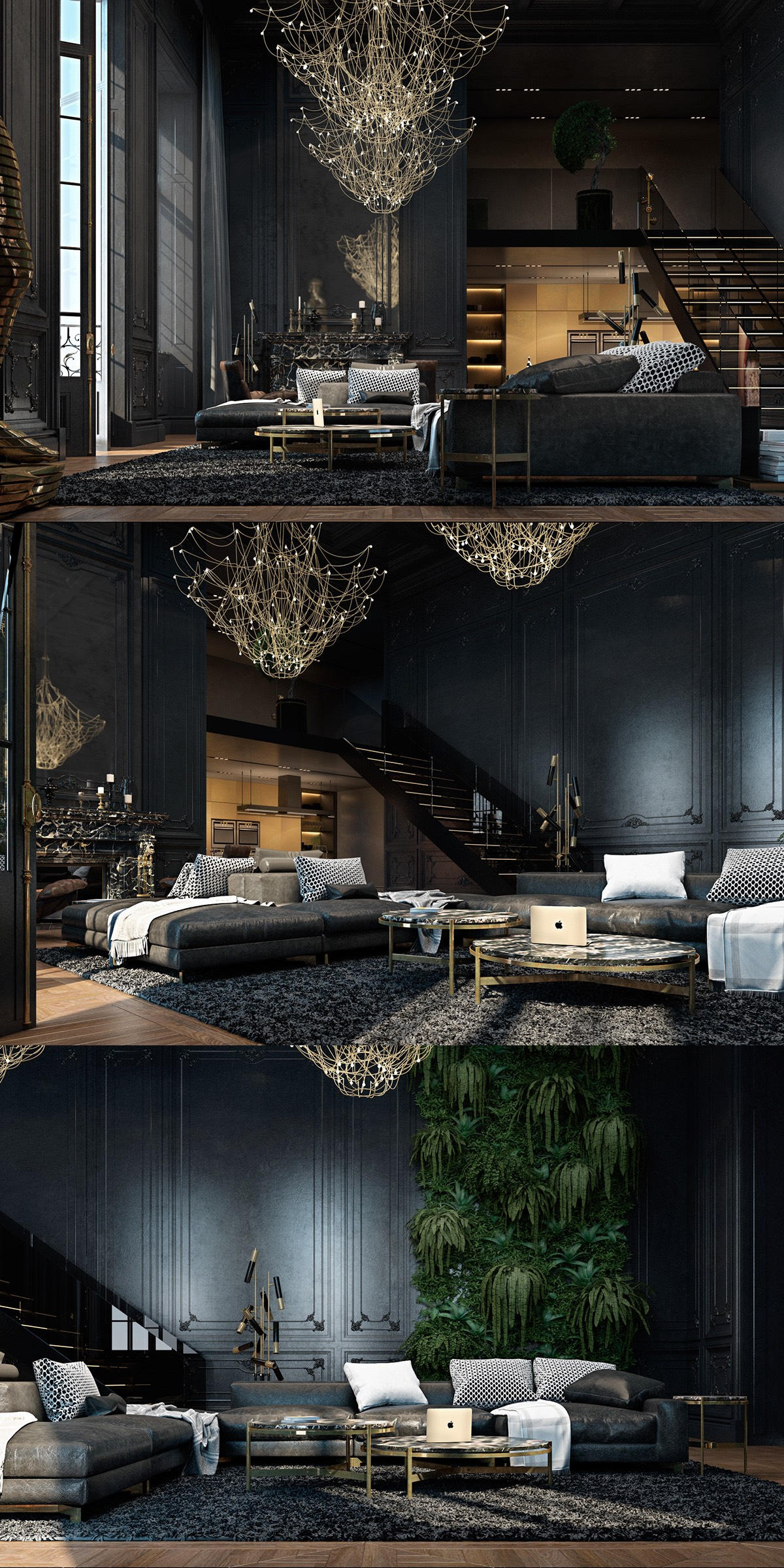 black color show an exotic living room decorating ideas roohome. Black Bedroom Furniture Sets. Home Design Ideas