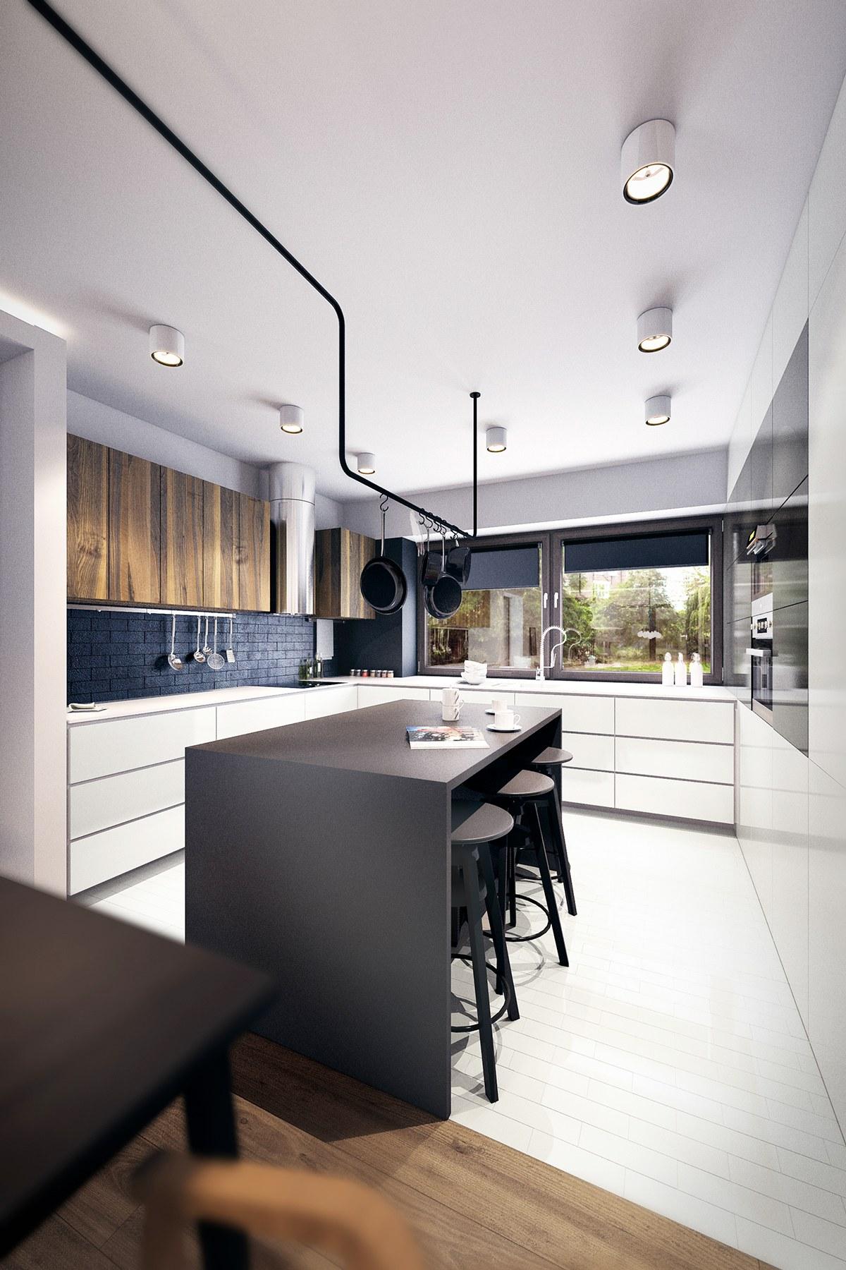 minimalist black wooden kitchen
