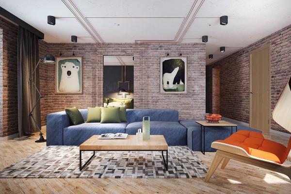 brick wall modern living room