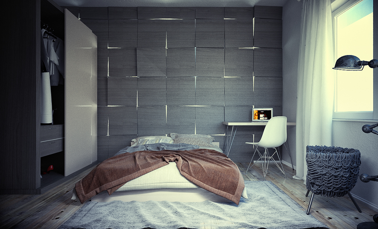 gray backsplash bedroom