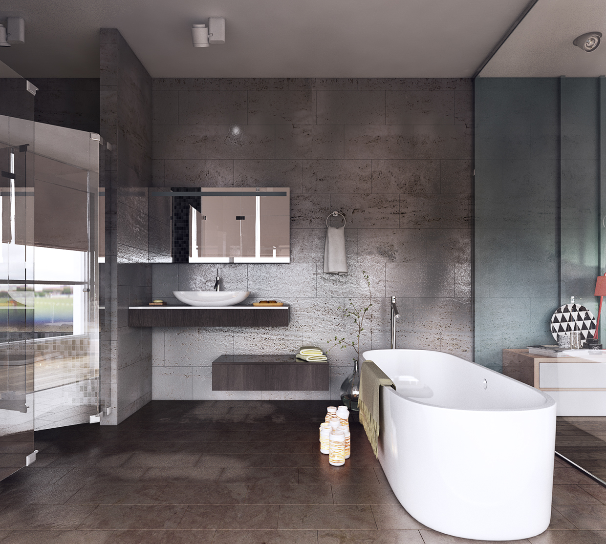 mini bathroom in bedroom design