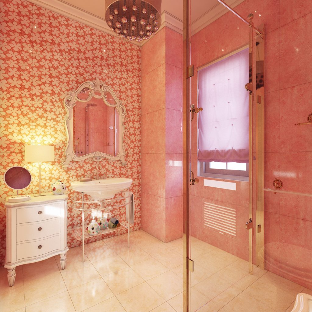 Decorating Small Bathroom Designs With Colorful Paint Wall Making It Look More Luxurious Roohome