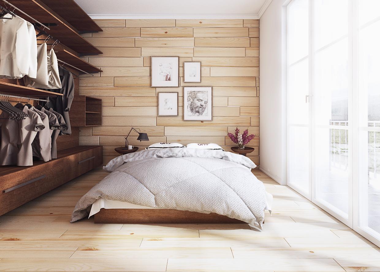 wooden backsplash bedroom design