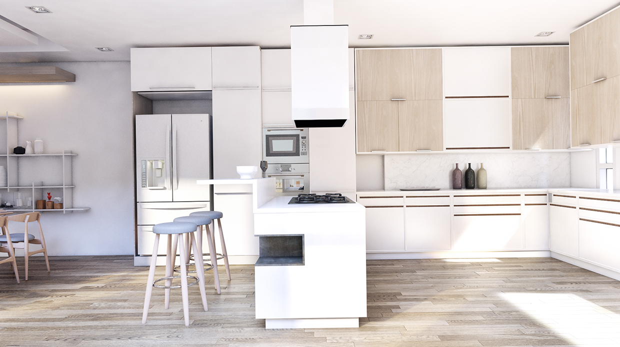 soft color kitchen design