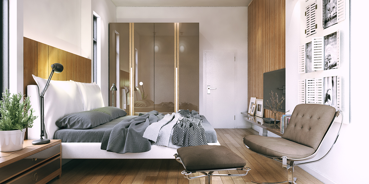 small bedroom design with wooden