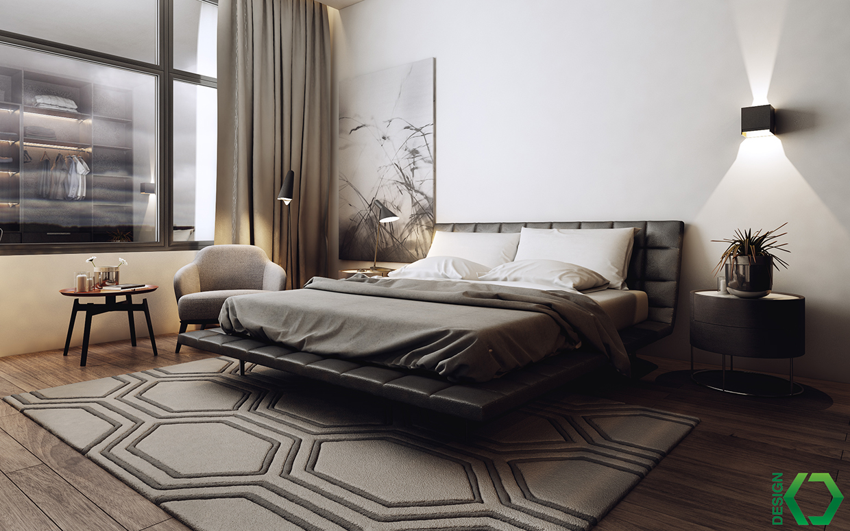 trendy black and white bedroom