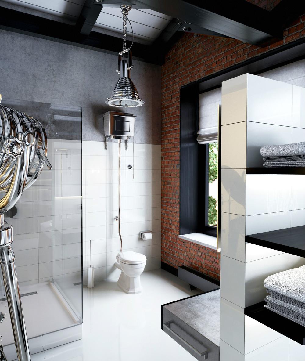 white and black masculine bathroom