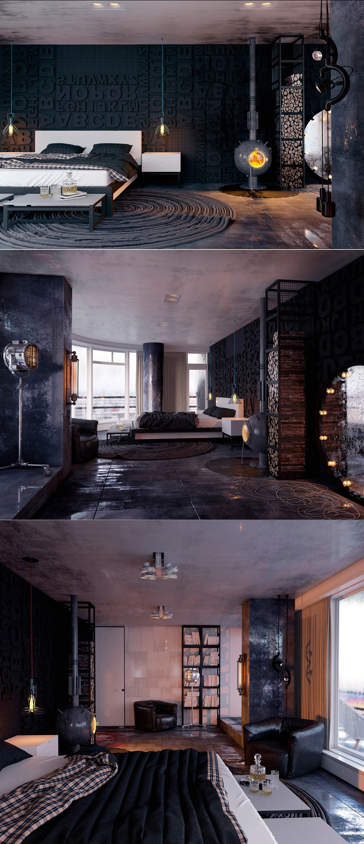 masculine dark bedroom design