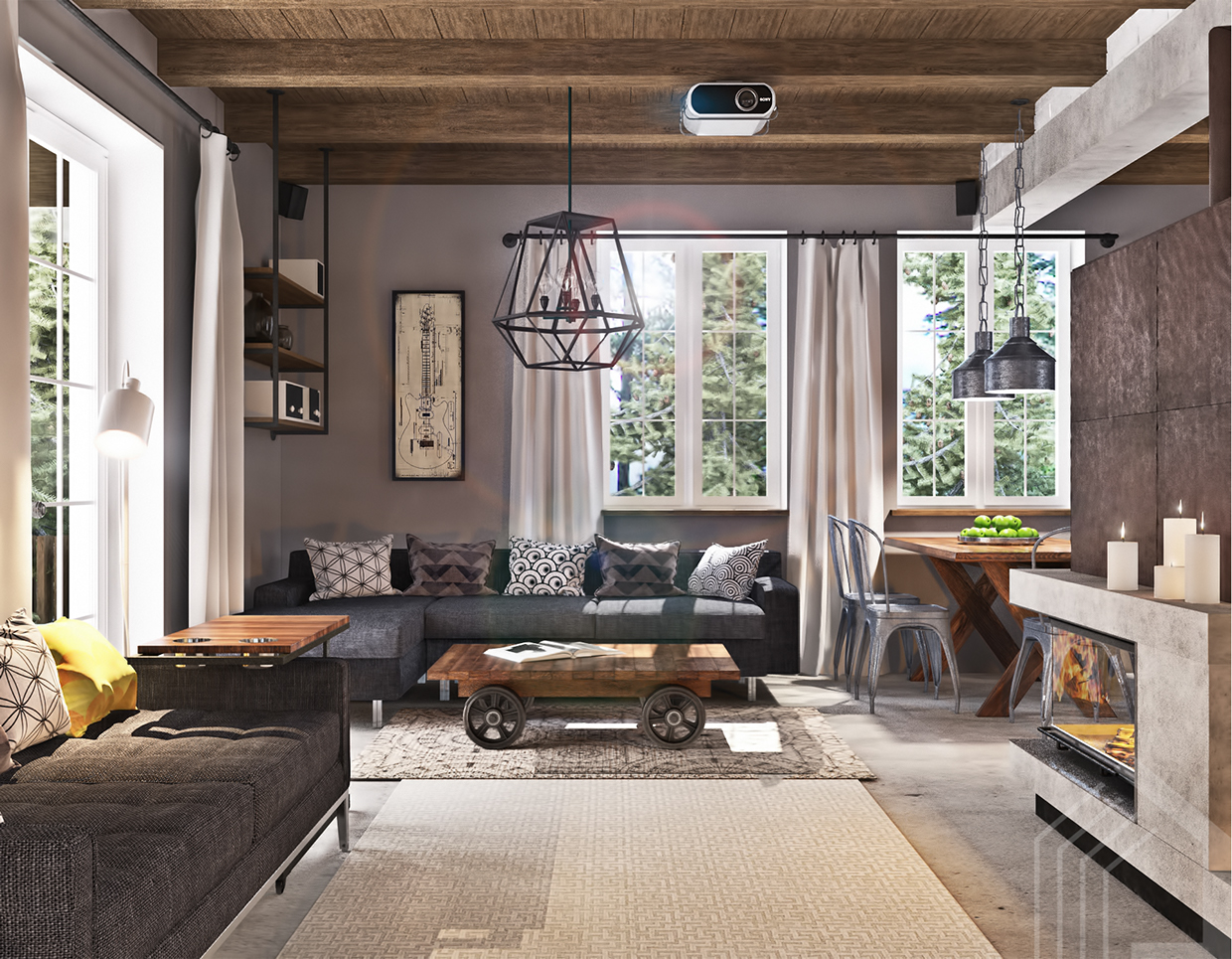 Studio apartment design with industrial decor looks so for Apartment design retro