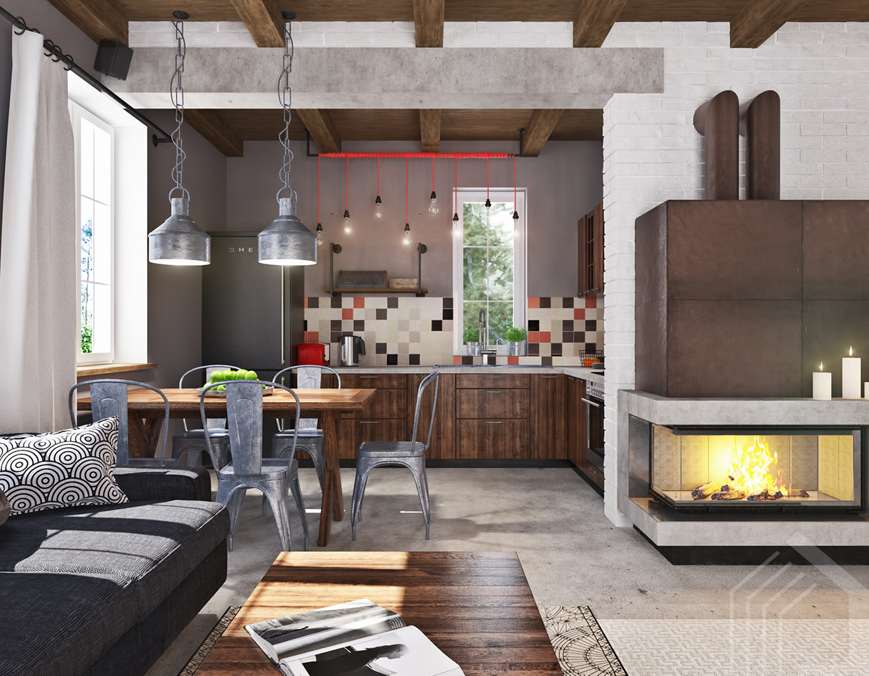 studio apartment with industrial decor