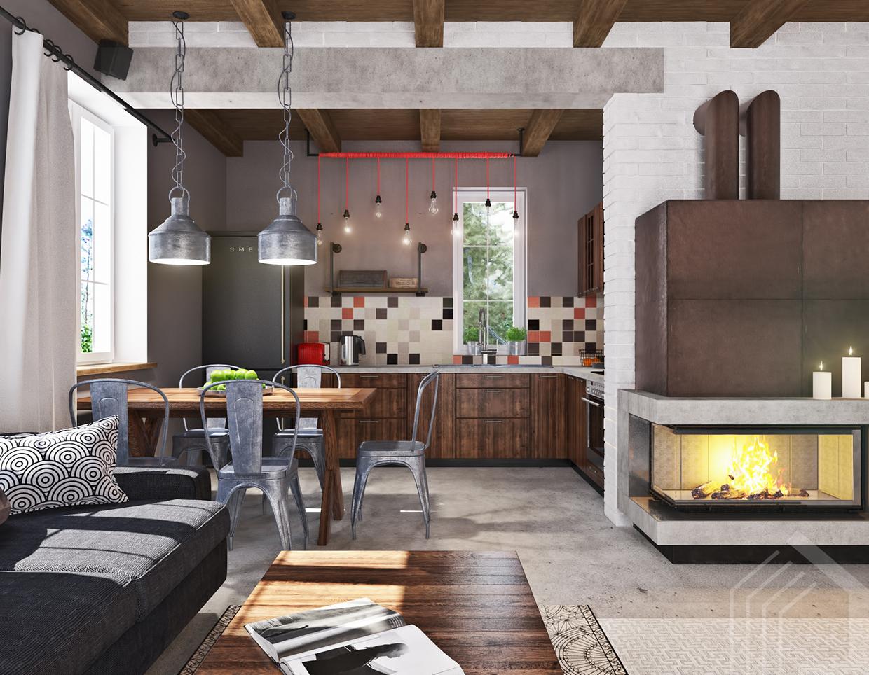 Studio apartment design with industrial decor looks so for Studio apartment layout