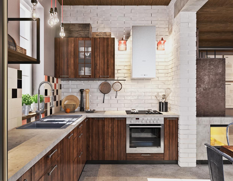 minimalist kitchen with industrial design