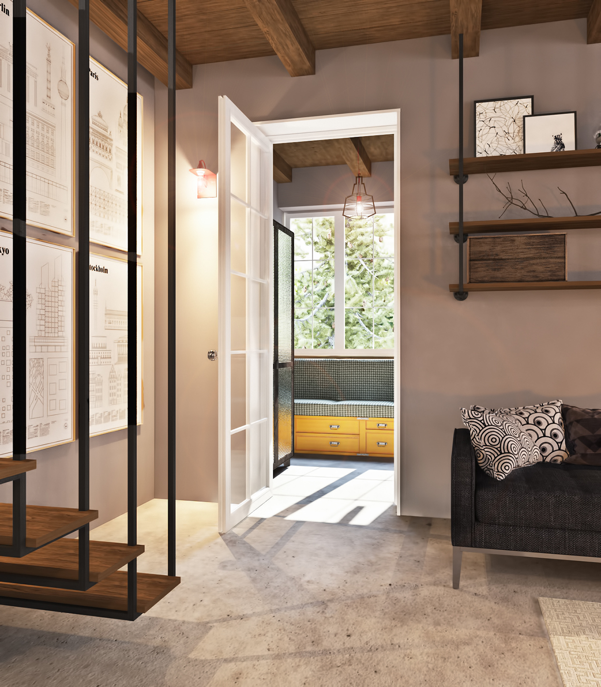studio apartment with industrial decor