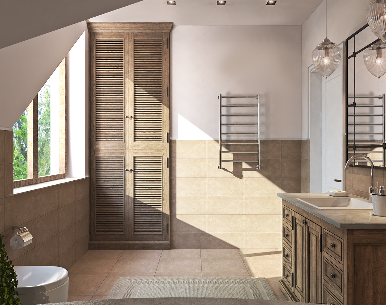 wooden accent decor bathroom design