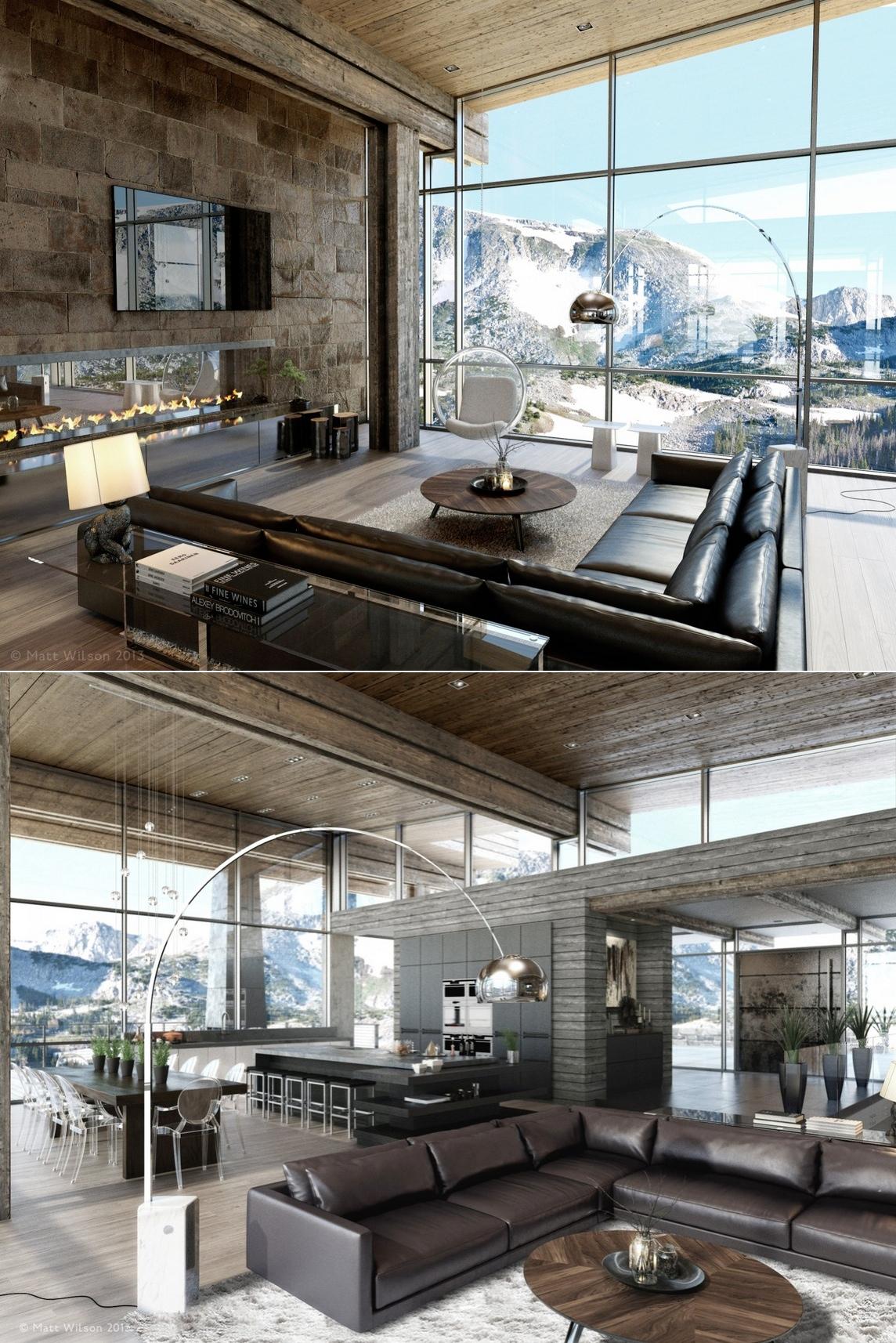 brick living room design