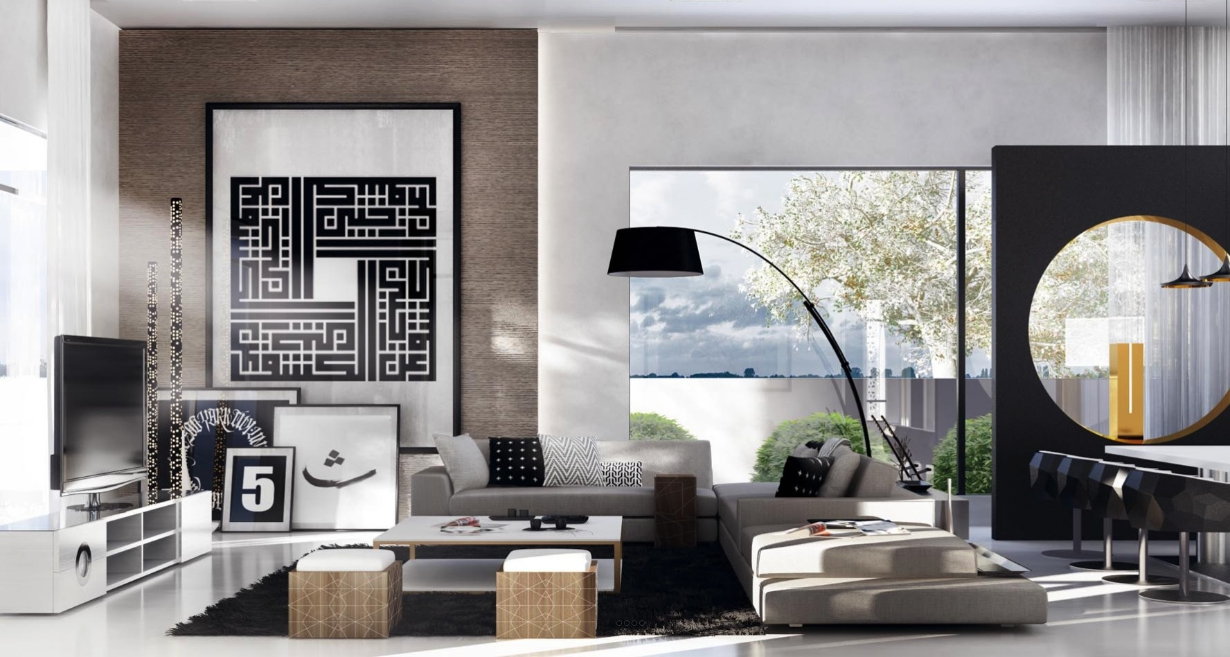 living room with geometric design