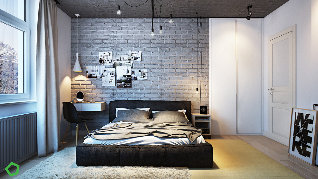 brick wall texture bedroom design