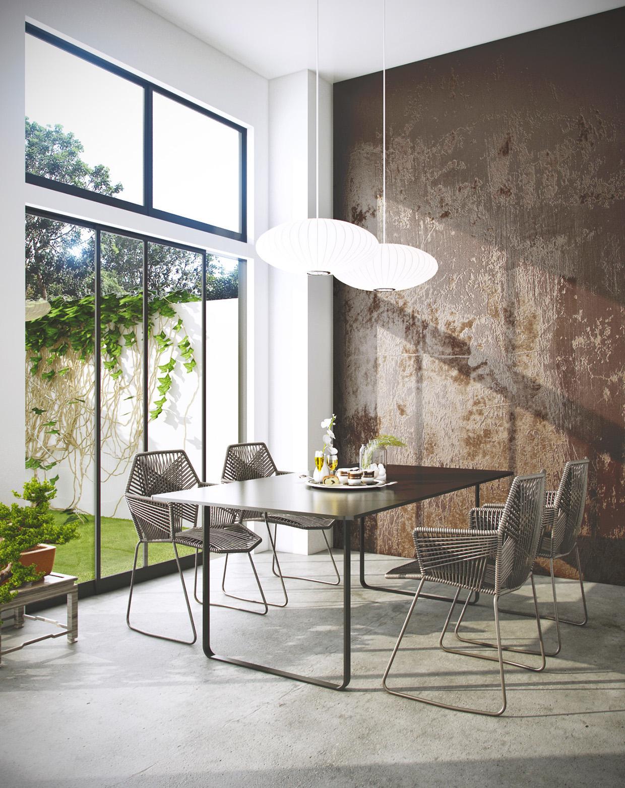 gray wooden dining room