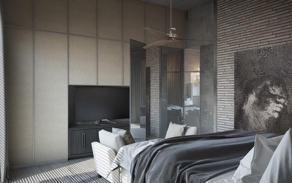 gray apartment bedroom plans