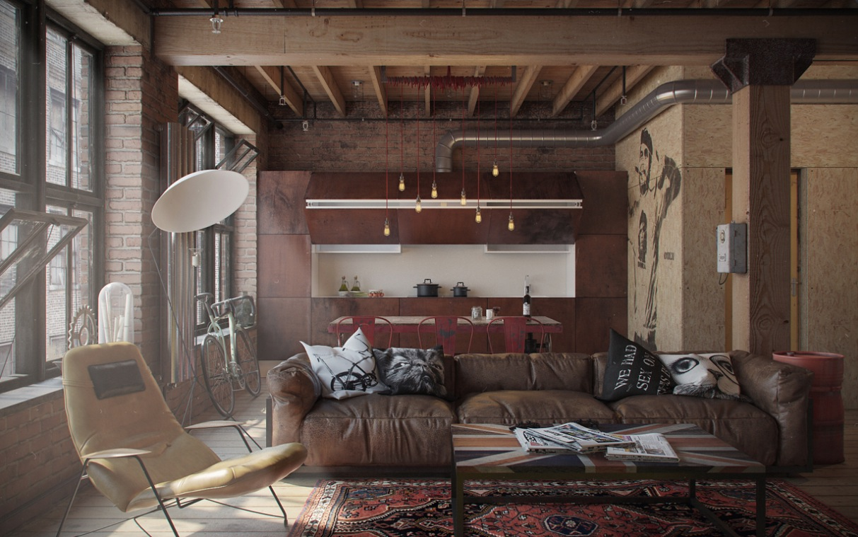 Studio Apartment Decorating Exposed Brick Wall Which Suitable For ...