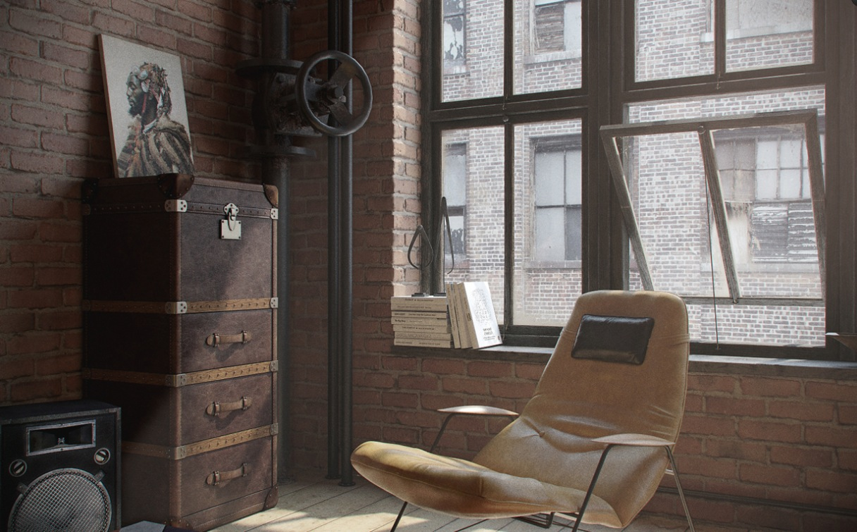 private room apartment with brick