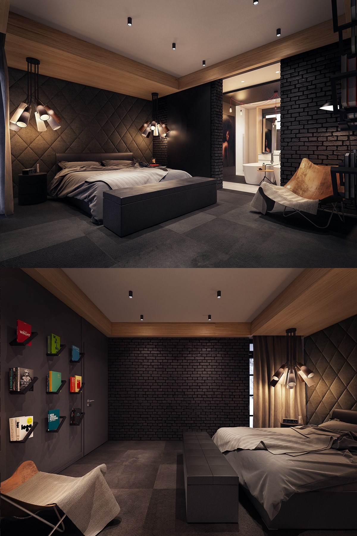 Dark color bedroom decorating ideas shows a luxury and for Dark wall decor ideas