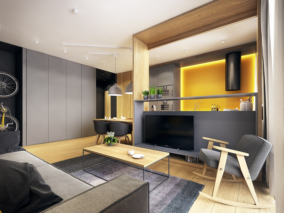 Modern scandinavian apartment interior design with gray color shade roohome designs plans - Maximizing space in a small apartment decor ...