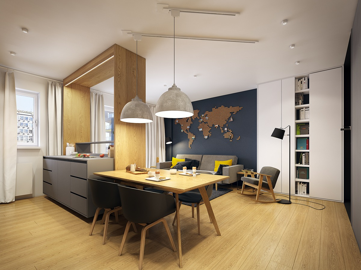 scandinavian apartment modern interior kitchen designs gray plans