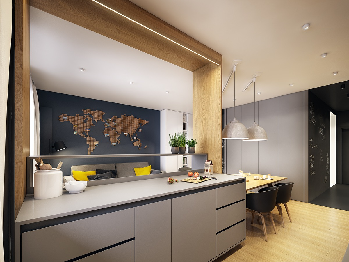 Modern Scandinavian Apartment Interior Design With Gray Color Shade Roohome Designs Plans