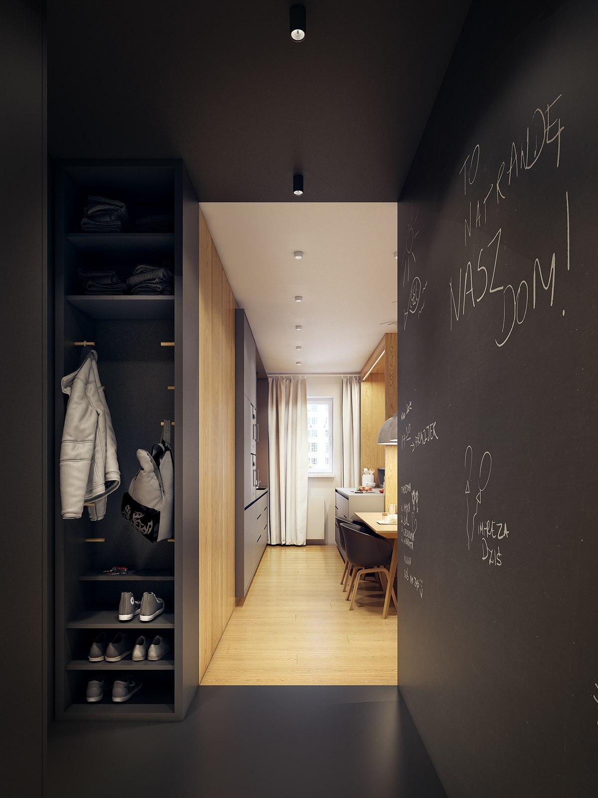 modern scandinavian apartment interior design with gray color