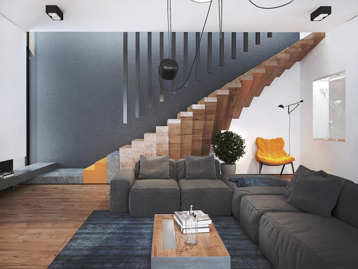 home design with unique staircase